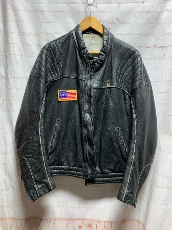 product details: 1970S LEATHER MOTORCYCLE CAFE RACER JACKET BMW LOGO 76 AMERICAN FLAG PATCH photo