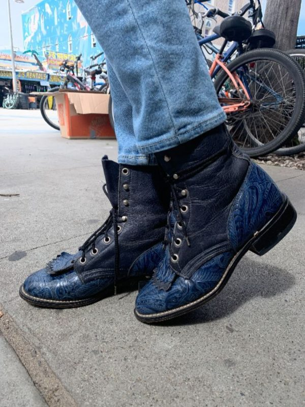 RADICAL ROPER LEATHER COWBOY BOOTS W/ EMBOSSED & TOOLED FLORAL DESIGN