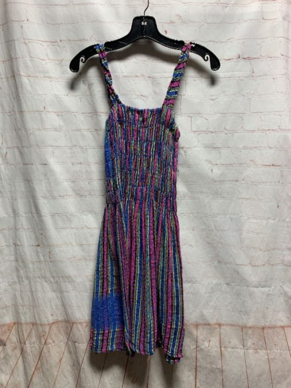 product details: WOVEN KNIT SUN DRESS W/ SHIRRED TOP & COLORFUL VERTICAL STRIPES photo