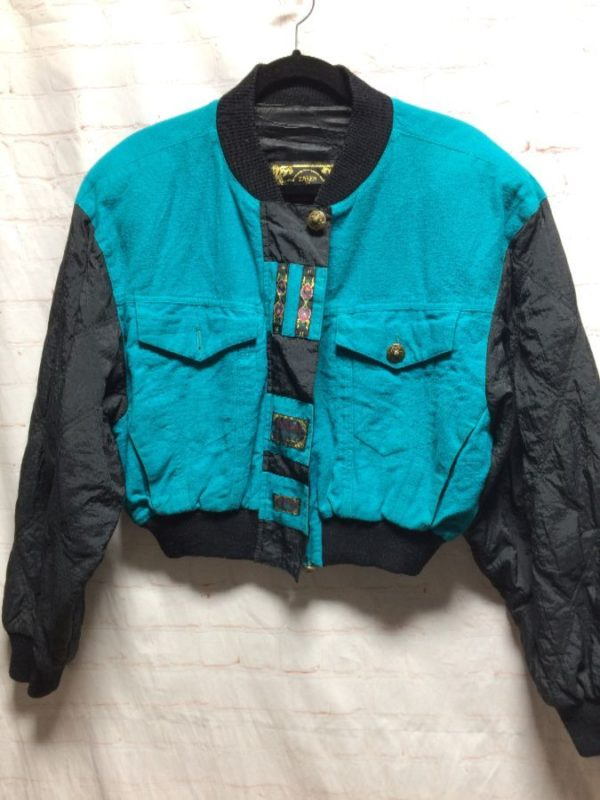 1980'S CROPPED COTTON & NYLON JACKET W/ RIBBED CUFFS & COLLAR