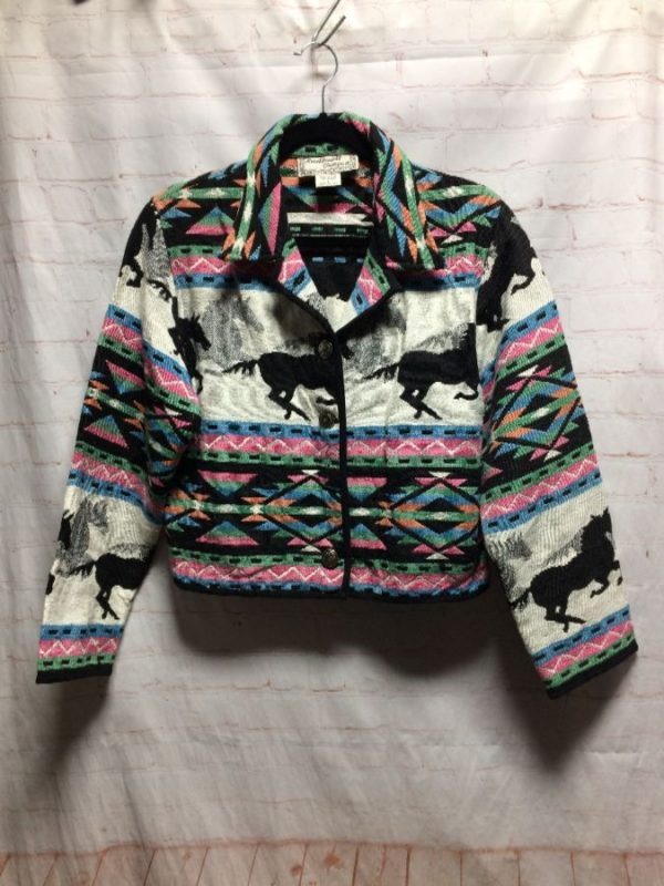 1980'S CROPPED PASTEL WOVEN TAPESTRY JACKET W/ RUNNING HORSES DESIGN