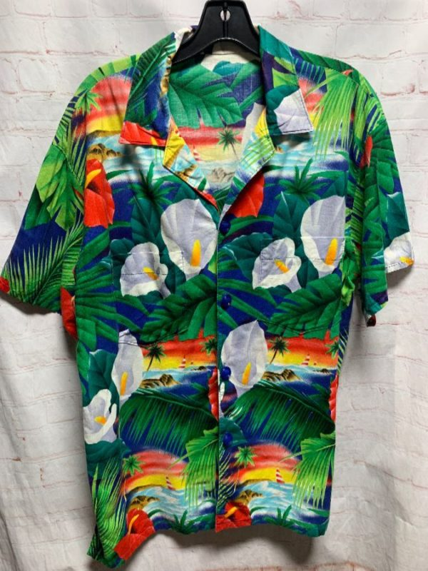 COTTON TROPICAL ISLAND JUNGLE & SAILBOATS PRINT HAWAIIAN SHIRT
