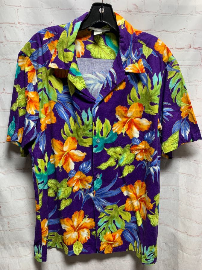 401aaa99 COTTON BRIGHT HIBISCUS FLORAL PRINT HAWAIIAN SHIRT » Boardwalk Vintage