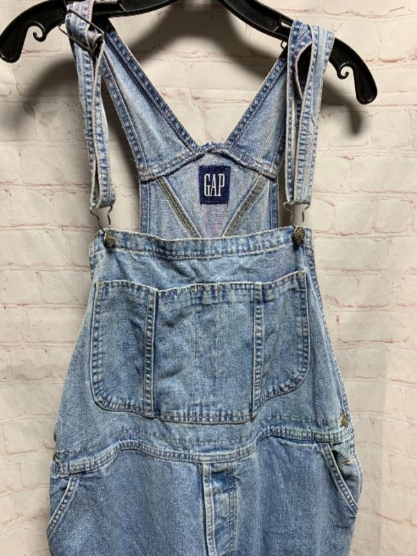 product details: CLASSIC LIGHT WASH DENIM OVERALLS SOFT W/ LITTLE PATCH ON BACK photo