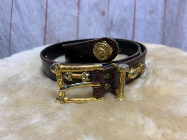 CROCODILE PATTERNED LEATHER BELT W/ SCREWS/NUTS/BOLTS HARDWARE