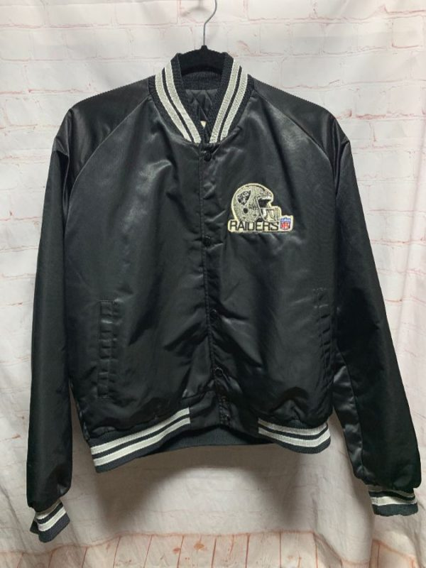NFL LA RAIDERS SATIN SPORTS JACKET W/ EMBROIDERED LOGO PATCH