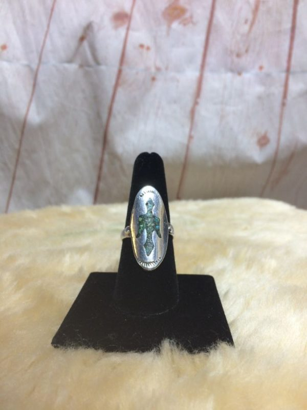 THUNDERBIRD CRUSHED TURQUOISE W/ STERLING SILVER 925 OVAL MOUNTING