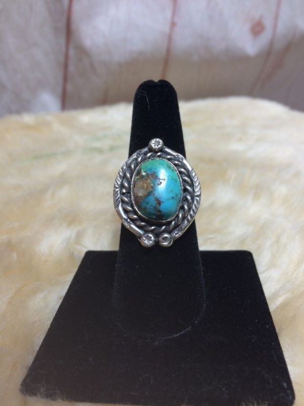 TURQUOISE RING BROWN MARBLING ORNATE DETAILING Sterling Silver 925