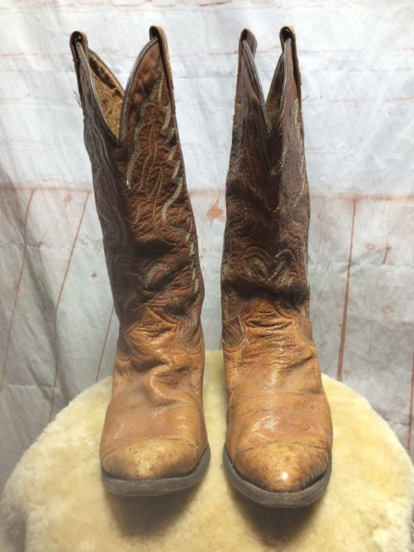 product details: LEATHER COWBOY BOOTS W/ OSTRICH HEELS/TOES & PULLS photo