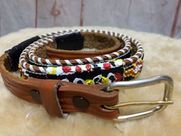 LEATHER BEAD EMBELLISHED & PAINTED MULTI-COLOR BELT