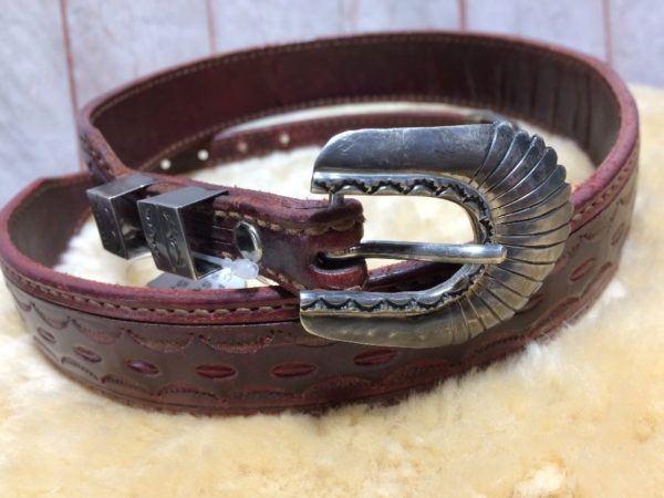 product details: EMBOSSED GEOMETRIC PATTERN LEATHER BELT WITH 925 STERLING SILVER BUCKLE, LOOP AND TIP *SIGNED photo