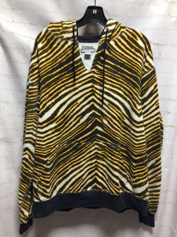 SWEATSHIRT FLEECE ZEBRA PRINT CUT-OUT V-NECK HOODED W/ DRAWSTRING