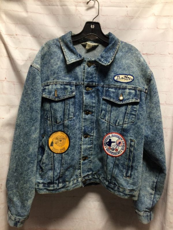 DENIM JACKET W/ PATCHES – DOTTIE/WAUKESHA HANDGUN/FLETCHER ARMS INC.