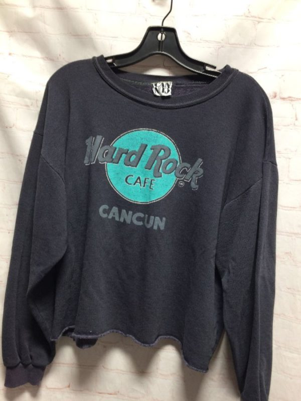 SEMI-CROPPED CREW-NECK PULLOVER HARD ROCK CAFE CANCUN