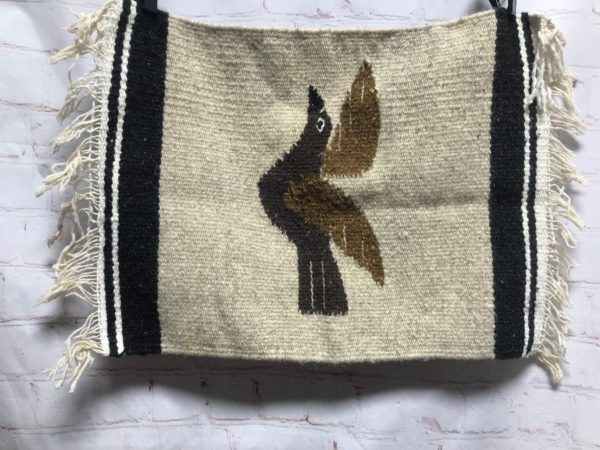 WOVEN SOUTHWESTERN RUG/TAPESTRY W/ BIRD & FRINGE ON ENDS