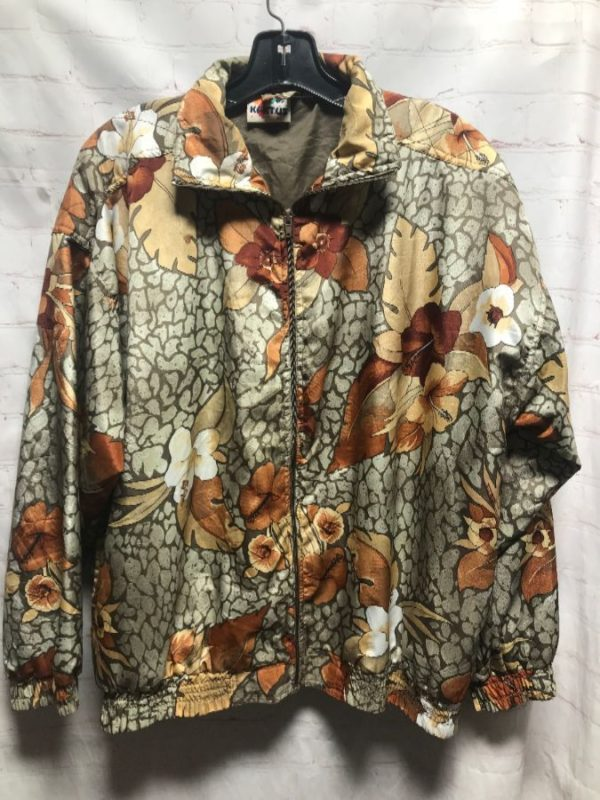1990'S TROPICAL FLORAL CRACKLE PRINT SILKY BOMBER JACKET