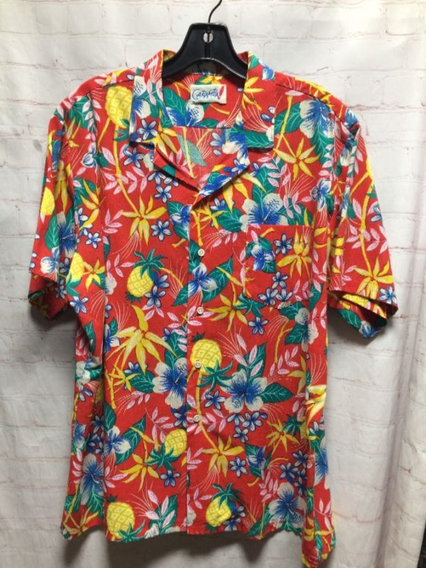 SUPER VIBRANT TROPICAL FRUIT AND FLOWER BUTTON DOWN SHIRT