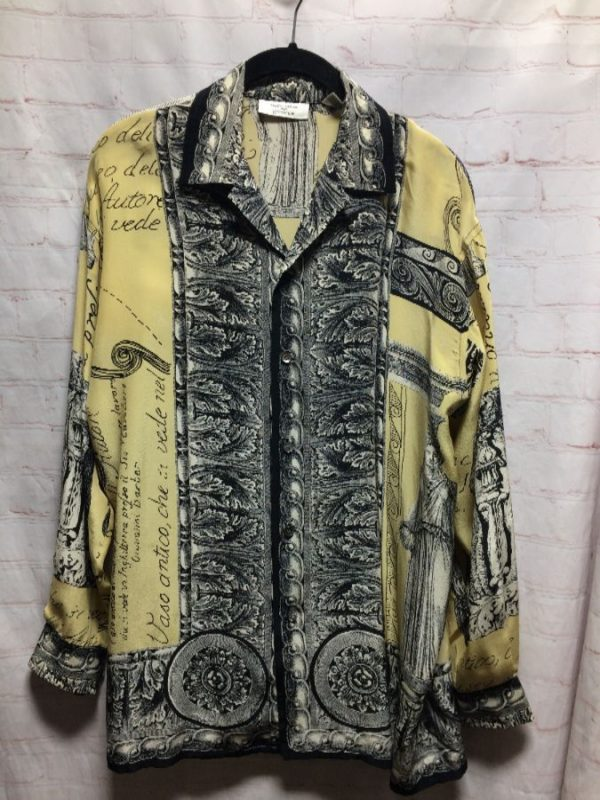 1980'S ROMANESQUE PATTERNED SILK BLOUSE