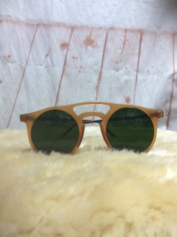 product details: *DEADSTOCK* PRIVATE LESSONS ARCHED SUNGLASSES GREEN LENSE photo