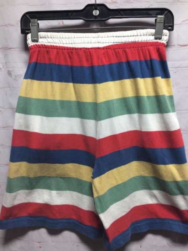 1980s HIGH WAIST MULTICOLORED STRIPED COTTON SHORTS ELASTIC WASIT