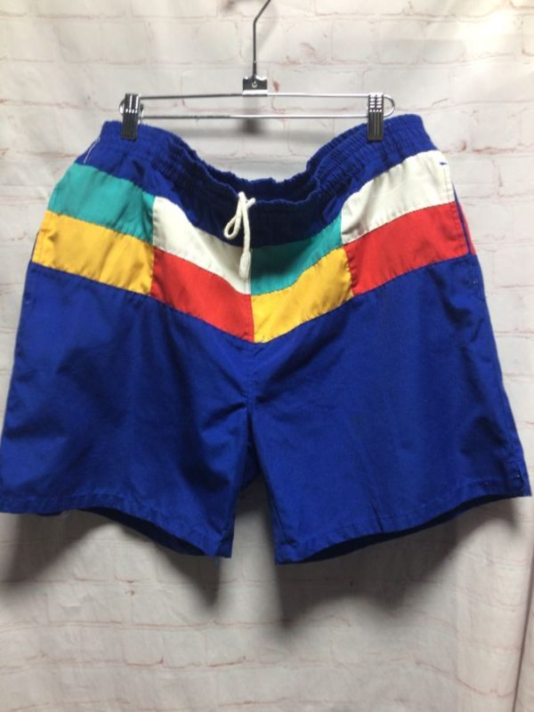 FUN VINTAGE COLOR-BLOCK DESIGN DRAWSTRING BOARD SHORTS