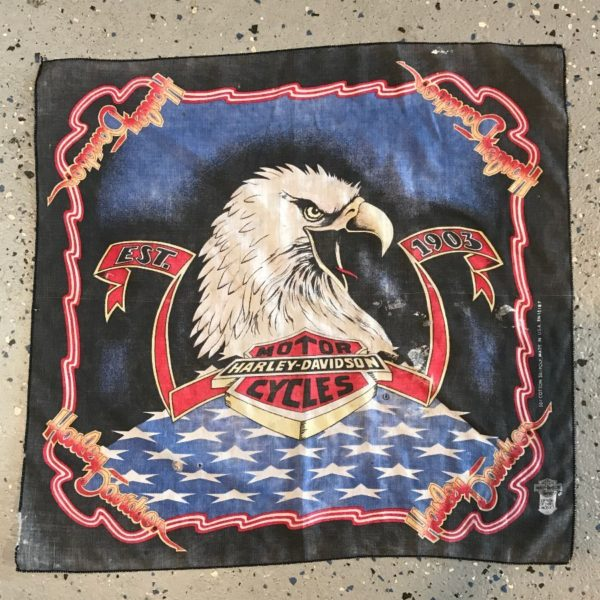 BANDANA HARLEY DAVIDSON MOTORCYCLES W/ EAGLE & EST. 1903 DISTRESSED & FADED