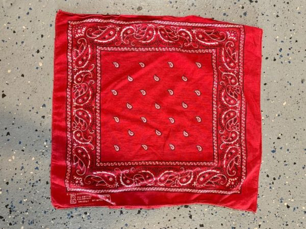 BANDANA ORNATE PAISLEY PRINT FRAYED FAST COLOR-RN 13960  SUPER SOFT