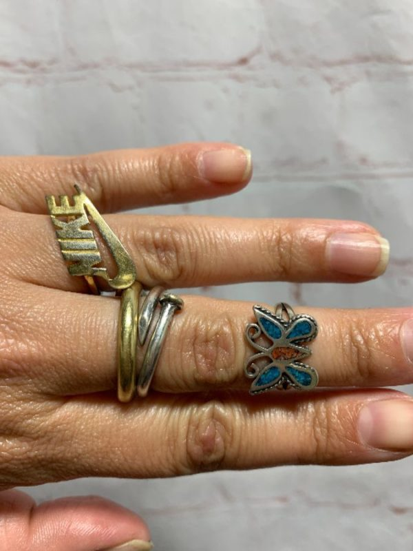 product details: BUTTERFLY RING W/ TURQUOISE & CORAL INLAY IN STERLING SILVER SETTING photo