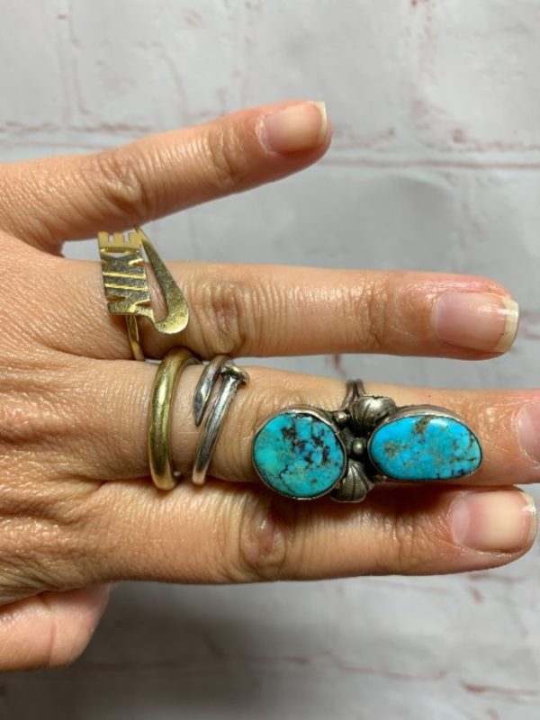 2 STACKED NUGGETS TURQUOISE RING W/ STERLING SILVER 925 MOUNTING