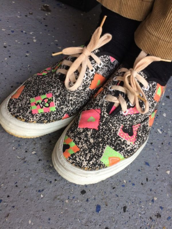product details: 1980S FUNKY PRINTED CANVAS SNEAKERS LACE UP FRONT DOTTED GEOMETRIC SHAPES photo