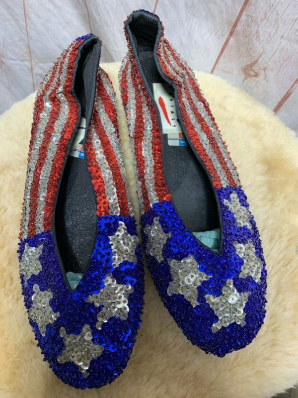 product details: AMERICAN FLAG DESIGN - SEQUIN SLIP ON SHOES photo