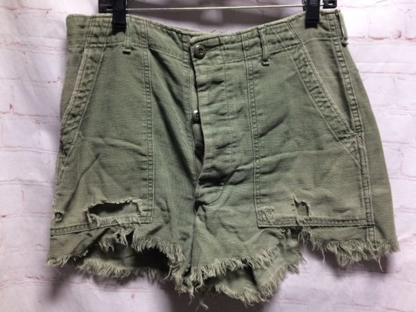 product details: COTTON MILITARY FATIGUE CUT-OFF SHORTS FRAYED & DISTRESSED photo