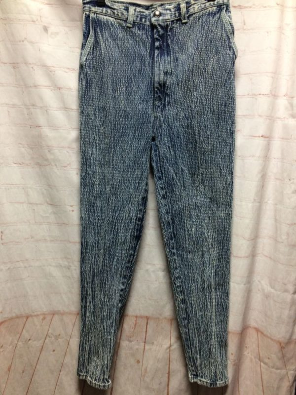 AMAZING 1980'S JEANS CRINKLED LIGHTNING ACID WASH