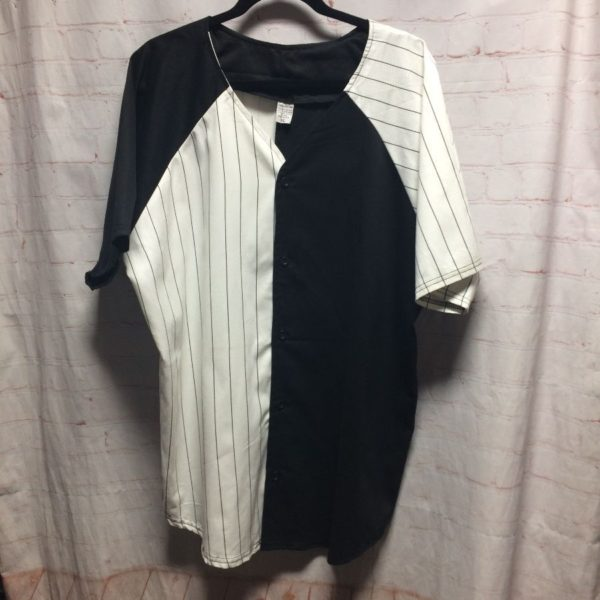 1990'S PINSTRIPE PRINT & SOLID COLOR-BLOCK DESIGN BASEBALL JERSEY COTTON