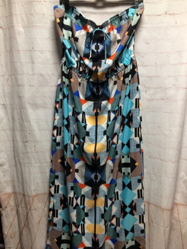 GEOMETRIC PRINT MAXI DRESS W/ LONG TUBE TOP BY LOCAL DESIGNER