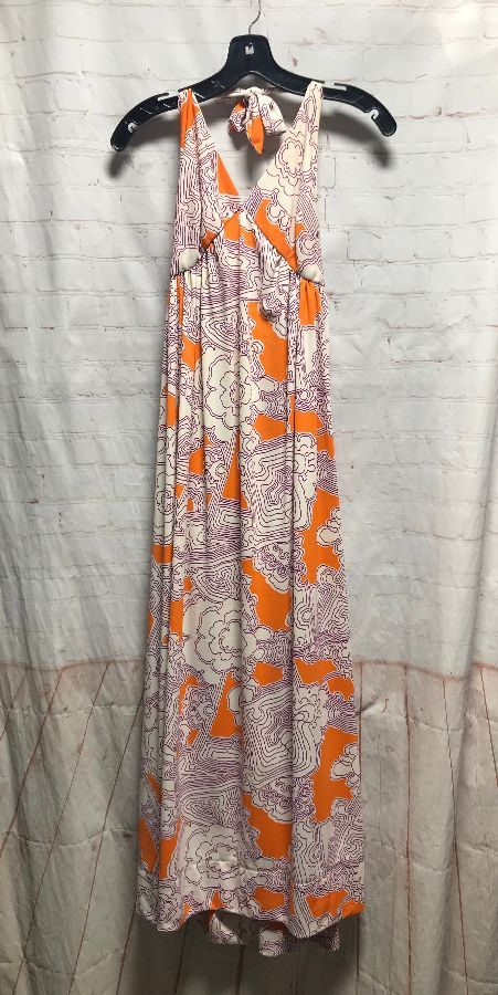1970'S HALTER TOP DRESS W/ PSYCHEDELIC FLORAL PRINT