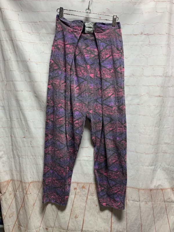product details: 1990'S FUNKY PRINT HAMMER PANTS COTTON W/ VELCRO WAIST photo