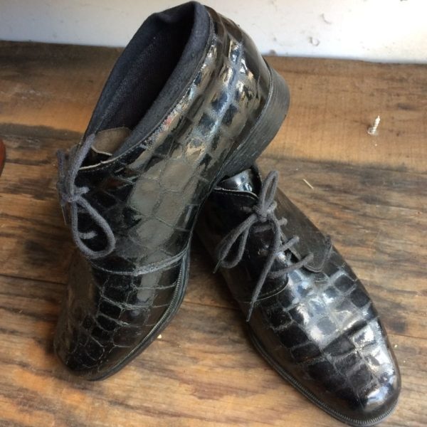 LACE-UP OXFORD BOOTIES W/ EMBOSSED CROCODILE LEATHER MADE IN FRANCE