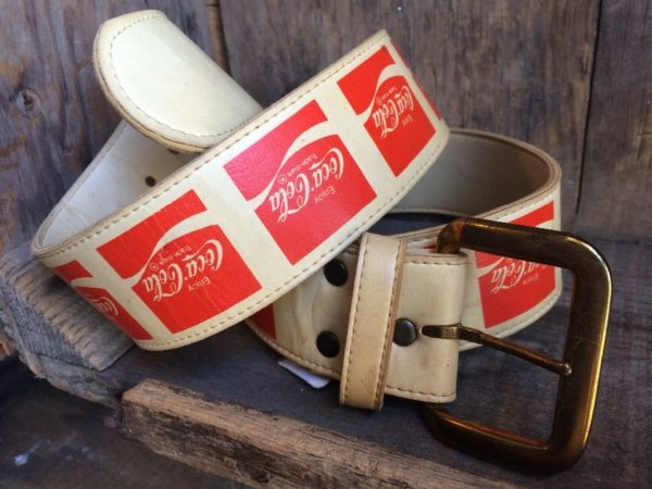 product details: LEATHER BELT W/ COCA COLA LOGO & BRASS BUCKLE photo