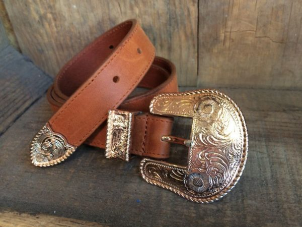 product details: SOFT LEATHER BELT W/ WESTERN ORNATE BUCKLE photo