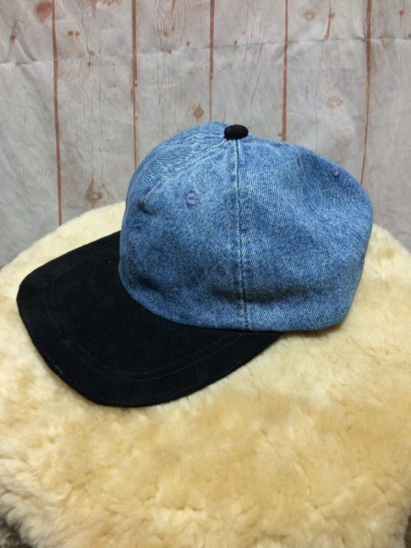 1990'S DENIM & SUEDE BASEBALL STYLE HAT