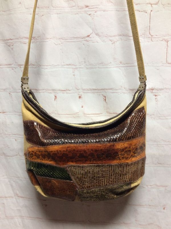 GENUINE SNAKE SKIN PATCHWORK DESIGN ON CROSS BODY BAG