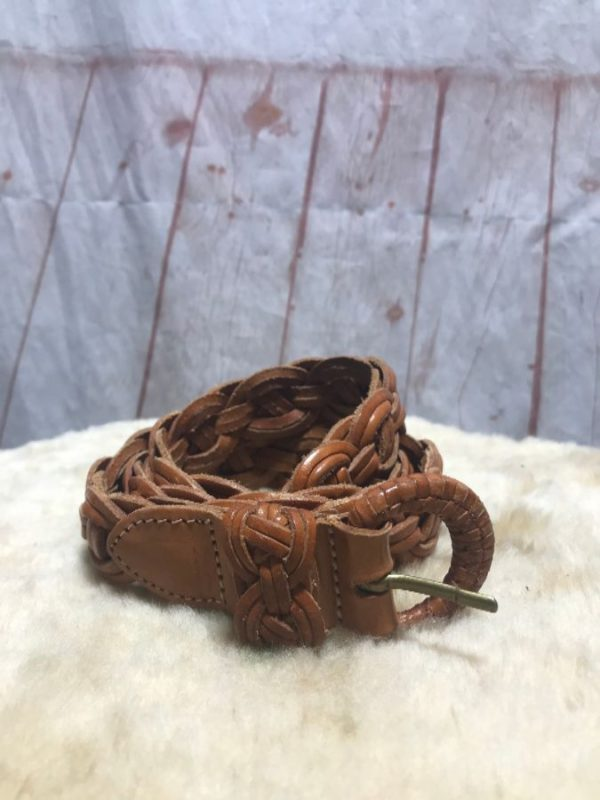 product details: LIGHT BROWN BRAIDED LEATHER BELT photo