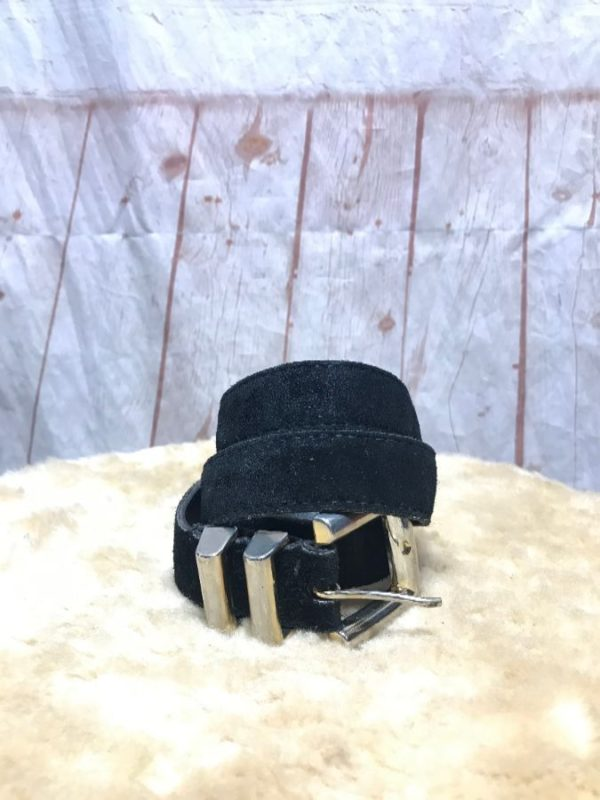 SUPER CHIC SUEDE LEATHER BELT W/ FADED GOLD METAL BUCKLE