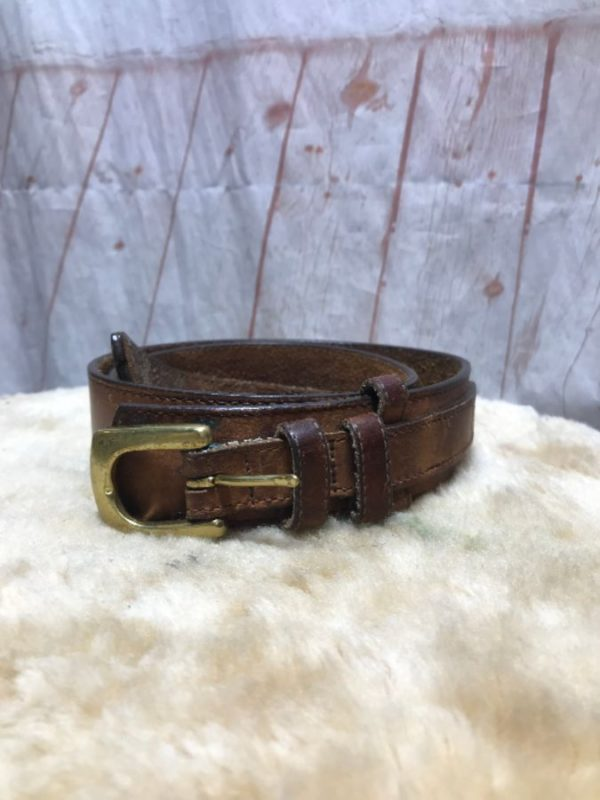 CUT NARROW AT WAIST SOFT LEATHER BELT W/ SOLID BRASS BUCKLE