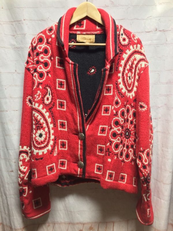 HEAVY SOFT 100% COTTON WEAVED PAISLEY PRINT JACKET BIG SILVER CONCHO BUTTONS