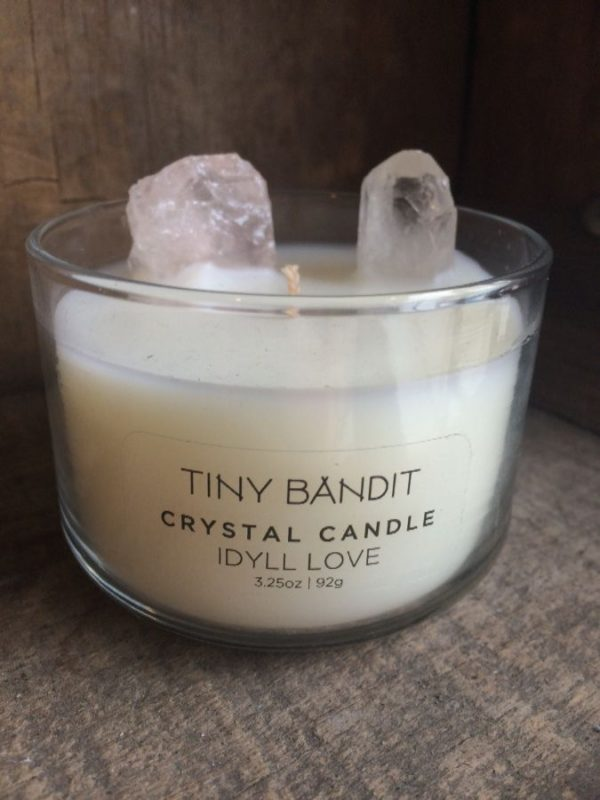 3.25 OZ SCENTED CANDLE – IDYLL LOVE W/ ROSE QUARTZ HEALING CRYSTALS