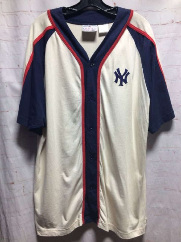 NEW YORK YANKEES COTTON BASEBALL JERSEY W/ EMBROIDERED LOGOS
