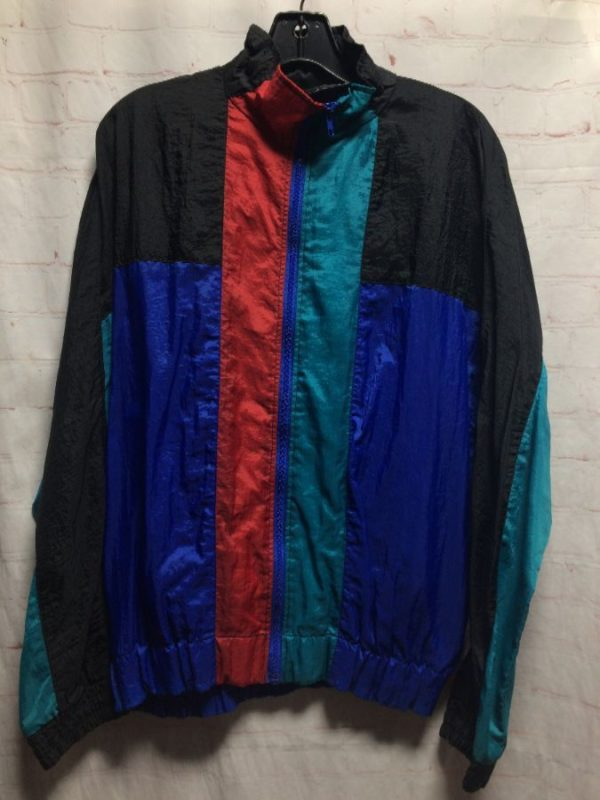 RAD NYLON ZIP-UP COLOR-BLOCK DESIGN WINDBREAKER JACKET