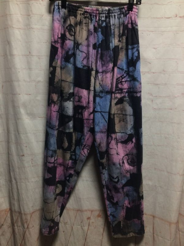RAD PASTEL COLORED FUNKY ABSTRACT PRINT SOFT COTTON HAREM PANTS